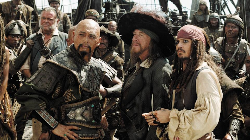 Chow Yun-fat, Geoffrey Rush and Johnny Depp in 'Pirates of the Caribbean: At World's End'. (Credit: Disney)