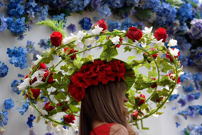 <p>A view of a racegoers hat at the Royal Ascot on June 20, 2017. (Toby Melville/Reuters) </p>