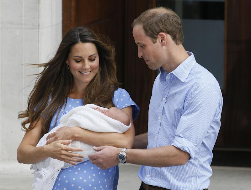 FILE - Britain's Prince William, right, and Kate, Duchess of Cambridge hold the Prince of Cambridge, in this Tuesday July 23, 2013, file photo as they pose for the media outside St. Mary's Hospital's exclusive Lindo Wing in London where the Duchess gave birth on Monday July 22. Kensington Palace announced Friday Sept 27 2013 that their son Prince George will be christened on Oct. 23 by the Archbishop of Canterbury, Justin Welby at Chapel Royal at St. James's Palace. (AP Photo/Kirsty Wigglesworth, file)