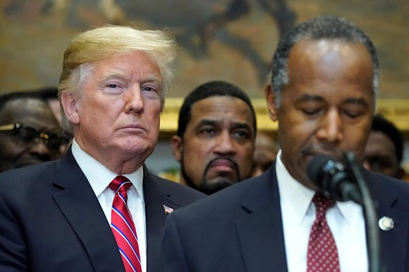 U.S. President Donald Trump listens to remarks by Secretary of Housing and Urban Development (HUD) Ben Carson at the White House on Dec. 12, 2018. (Photo: REUTERS/Jonathan Ernst)