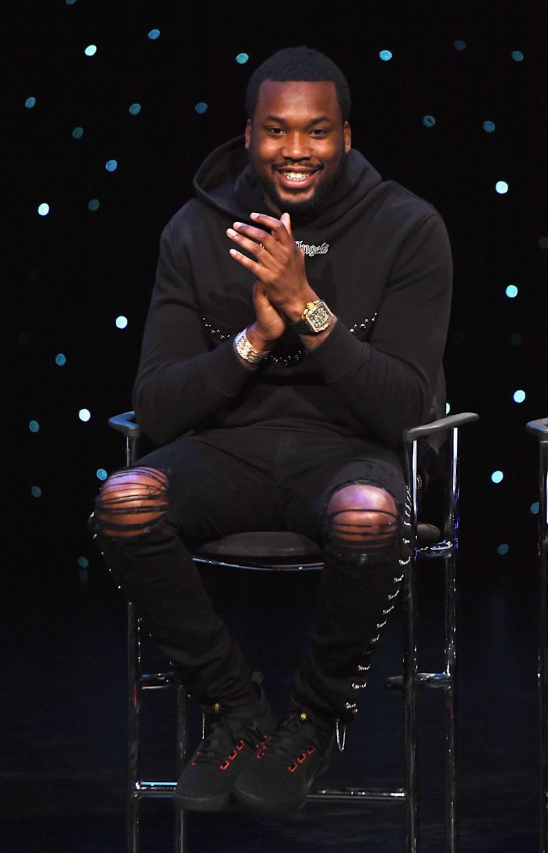 Meek Mill speaks onstage during the launch of The Reform