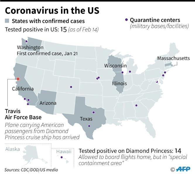 Map showing US states with confirmed cases of new coronavirus, and quarantine centers