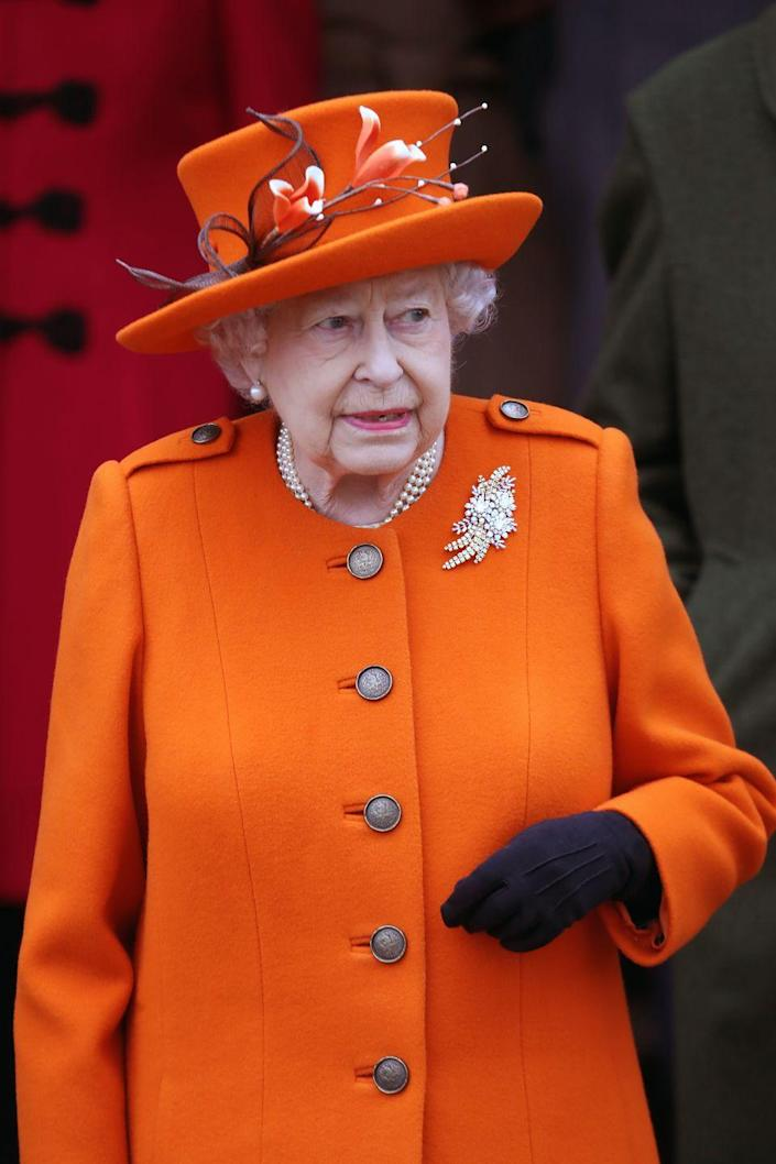 <p>Queen Elizabeth skipped the standard red and green and went for a bold orange for Christmas church service in 2017. </p>
