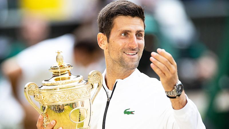 Novak Djokovic may not get the chance to defend his Wimbledon championship, with the tournament likely to be cancelled for 2020 due to the coronavirus pandemic. (Photo by Simon Bruty/Anychance/Getty Images)