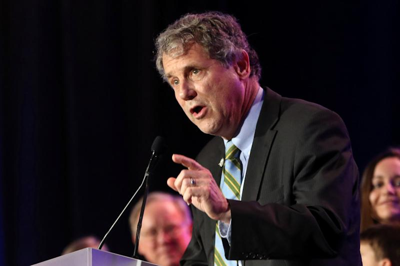 U.S. Senator Sherrod Brown speaks at his election night party in Columbus