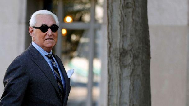 PHOTO: File photo: Roger Stone, former campaign adviser President Donald Trump, arrives for his criminal trial on charges of lying to Congress, obstructing justice and witness tampering at U.S. District Court in Washington, Nov. 13, 2019. (File Photo-Yara Nardi/Reuters)