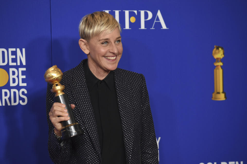 """FILE - In a Sunday, Jan. 5, 2020 file photo, Ellen DeGeneres, winner of the Carol Burnett award, poses in the press room at the 77th annual Golden Globe Awards at the Beverly Hilton Hotel, in Beverly Hills, Calif. """"The Masked Singer"""" has been such a hit for Fox that the network is doubling down on hidden entertainers. Fox says it's joining with Ellen DeGeneres to produce """"The Masked Dancer,"""" a celebrity competition show based on """"The Masked Singer"""" and a segment that DeGeneres originated on her talk show. (AP Photo/Chris Pizzello, File)"""