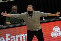 Milwaukee Bucks head coach Mike Budenholzer reacts during the first half of an NBA basketball game against the LA ClippersSunday, Feb. 28, 2021, in Milwaukee. (AP Photo/Morry Gash)