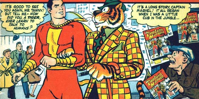 Shazam and his talking tiger buddy, Tawky Tawny