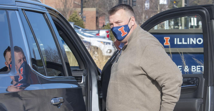 University of Illinois' new football coach Bret Bielema and his family were introduced to the media outside the Smith Center on UI campus in Champaign, Ill. on Sunday, Dec. 20 , 2020. (Robin Scholz/The News-Gazette via AP)