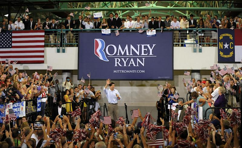 Republican vice presidential candidate, Rep. Paul Ryan, R-Wis., is welcomed after entering a campaign event at East Carolina University, Monday, Sept. 3, 2012, in Greenville, N.C. (AP Photo/Sara D. Davis)