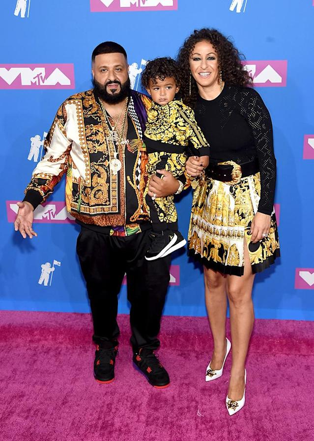 <p>DJ Khaled, Asahd Khaled, and Nicole Tuck attend the 2018 MTV Video Music Awards at Radio City Music Hall on August 20, 2018 in New York City. (Photo: Jamie McCarthy/Getty Images) </p>