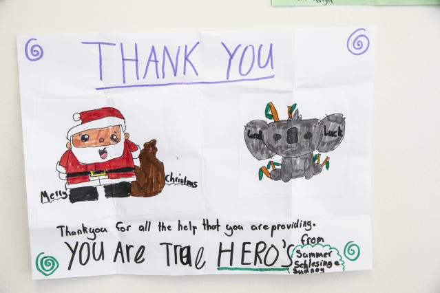 Thank you cards are seen at Rural Fire Service headquarters on Jan. 02, 2020 in Sydney, Australia. (Photo by Jenny Evans/Getty Images)