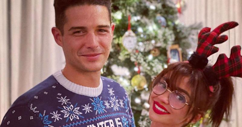 Sarah Hyland and Fiancé Wells Adams Pose in Festive Holiday Outfits: 'Third Christmas with You'