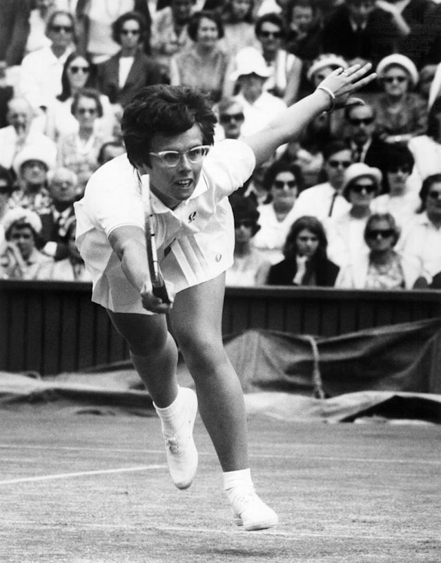Billie Jean King in 1967 at Wimbledon, where she won the women's singles title six times as well as four US Open titles and one French Open (AFP Photo/)