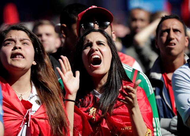 Soccer Football - World Cup - Group B - Portugal vs Morocco- Saint Petersburg, Russia - June 20, 2018. Fans react at Saint Petersburg Fan Fest. REUTERS/Henry Romero