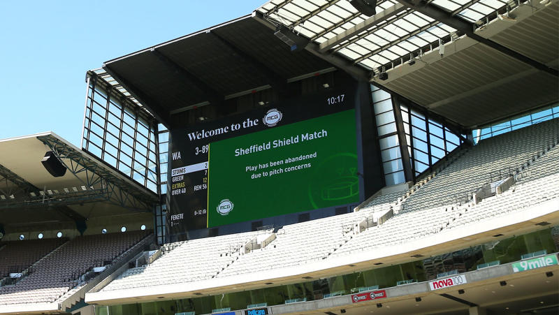 LCD screen announces play is abandoned prior to the start of day two of the Sheffield Shield match between Victoria and Western Australia at Melbourne Cricket Ground on December 08, 2019 in Melbourne, Australia. (Photo by Mike Owen/Getty Images)
