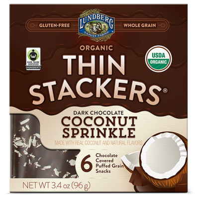 """<p><strong>Lundberg</strong></p><p>plummarket.com</p><p><strong>$4.29</strong></p><p><a href=""""http://www.plummarket.com/store/lundberg-organic-thin-stackers-coconut-sprinkle-3-4oz.html?p_id=27531&gclid=EAIaIQobChMI4e_PraPT5QIVAWyGCh1WrQY4EAQYAyABEgKJuvD_BwE"""" rel=""""nofollow noopener"""" target=""""_blank"""" data-ylk=""""slk:BUY NOW"""" class=""""link rapid-noclick-resp"""">BUY NOW</a></p><p>Rice cakes aren't usually the most exciting food to snack on, but chocolate changes everything. Lundberg's entire thin stackers offering is worth trying, but the dark chocolate coconut sprinkle option is downright addictive.</p>"""