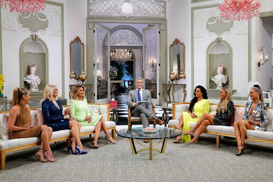 """<p>The cast members sometimes film for <a href=""""https://www.eonline.com/news/846560/real-housewives-reunions-101-5-things-you-need-to-know-to-survive"""" rel=""""nofollow noopener"""" target=""""_blank"""" data-ylk=""""slk:up to 12 hours"""" class=""""link rapid-noclick-resp"""">up to 12 hours</a>. At the beginning of the day, each cast member is picked up by car and brought to an unknown location, where they get their hair and makeup done and prepare <del>for </del><del>battle</del> to answer questions.</p>"""