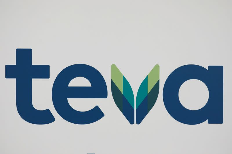 FILE PHOTO: The logo of Teva Pharmaceutical Industries is seen during a news conference in Tel Aviv