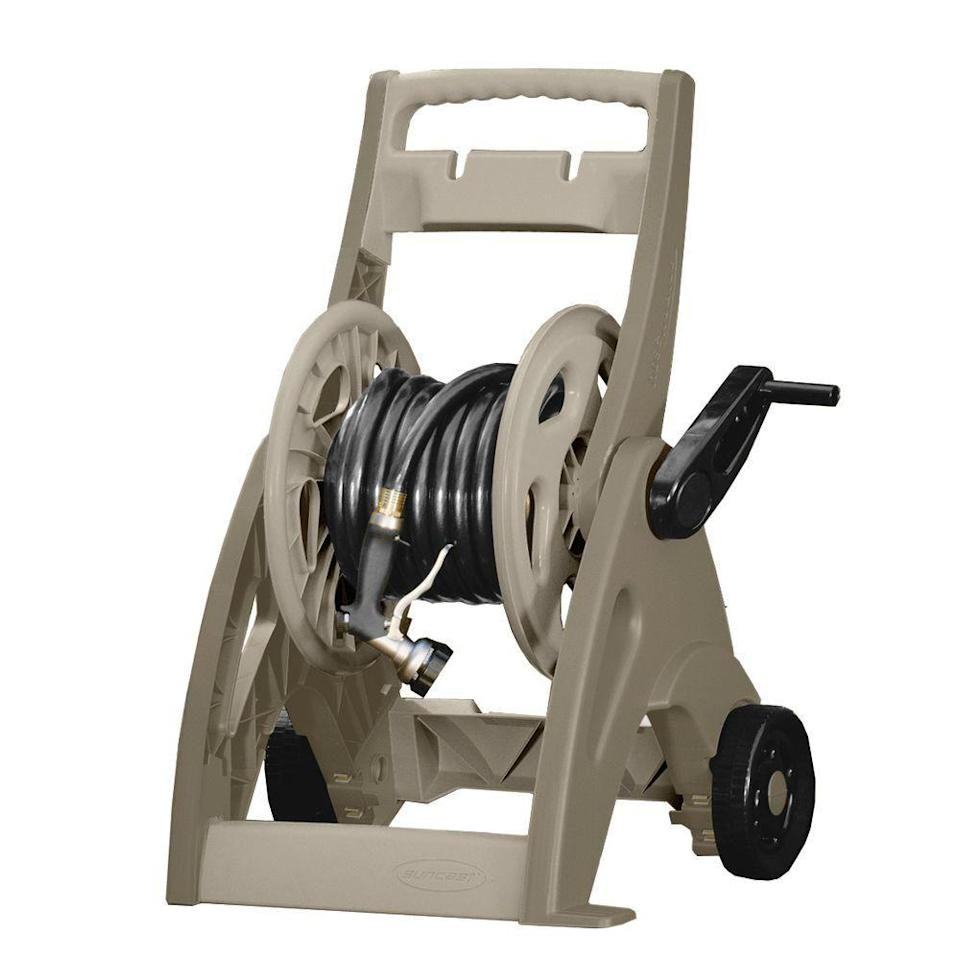 "<p><strong>175 ft. Hose Reel Mobile Cart</strong></p><p>homedepot.com</p><p><strong>$34.99</strong></p><p><a href=""https://go.redirectingat.com?id=74968X1596630&url=https%3A%2F%2Fwww.homedepot.com%2Fp%2FSuncast-175-ft-Hose-Reel-Mobile-Cart-CPLJNF17524%2F100334893&sref=https%3A%2F%2Fwww.countryliving.com%2Fgardening%2Fgarden-ideas%2Fg35902961%2Fbest-hose-reels%2F"" rel=""nofollow noopener"" target=""_blank"" data-ylk=""slk:Shop Now"" class=""link rapid-noclick-resp"">Shop Now</a></p><p>At under $35, this reel won't break the bank. And while its all plastic frame isn't the sturdiest, with a little TLC, it should easily last you several years.</p>"