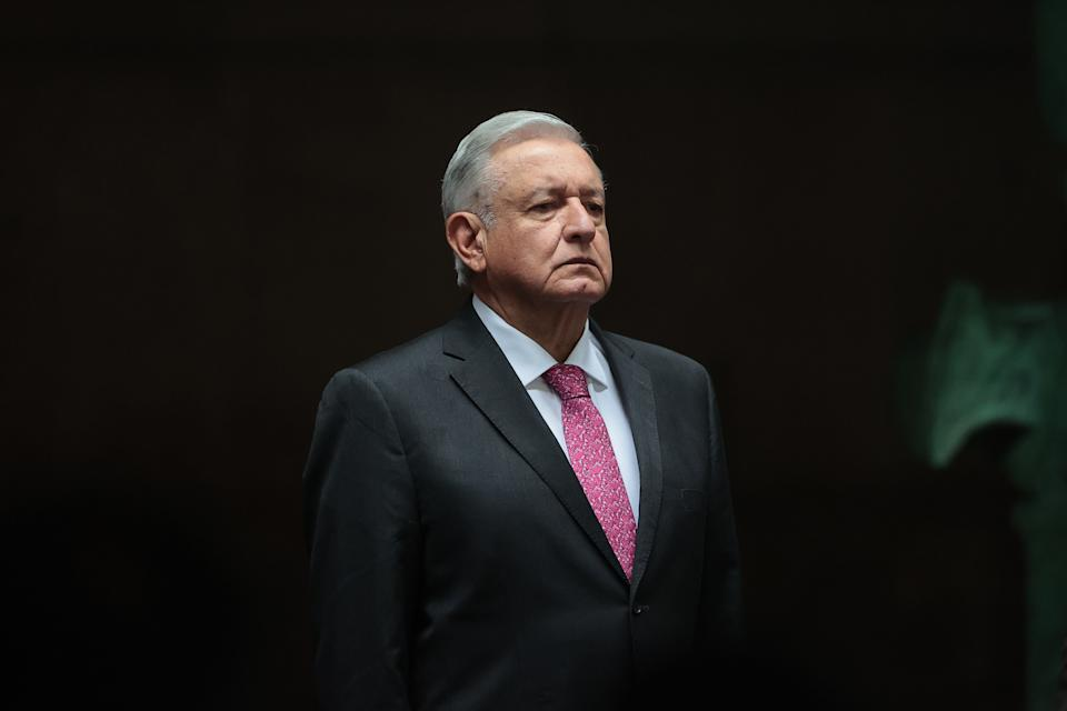 MEXICO CITY, MEXICO - JULY 01: President of Mexico Andres Manuel Lopez Obrador looks on during the ceremony to commemorate the third year of Lopez Obrador's victory in the 2018 presidential elections at Palacio Nacional on July 01, 2021 in Mexico City, Mexico. (Photo by Hector Vivas/Getty Images)