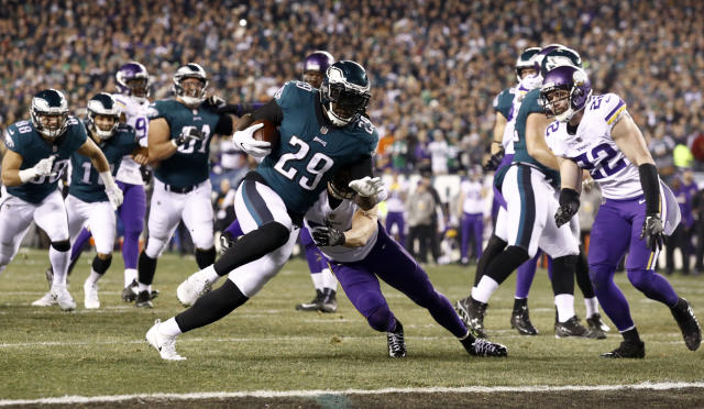 Philadelphia's LeGarrette Blount ran for a touchdown in the Eagles' NFC title game rout of the Vikings on Sunday. (AP)