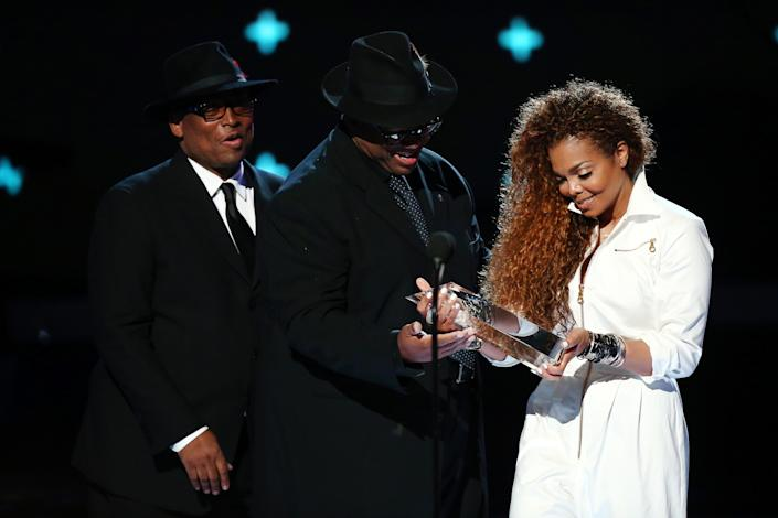 Terry Lewis and Jimmy Jam present  Janet Jackson with the Ultimate Icon Award at the 2015 BET Awards. (Photo: Mark Davis/BET/Getty Images for BET)