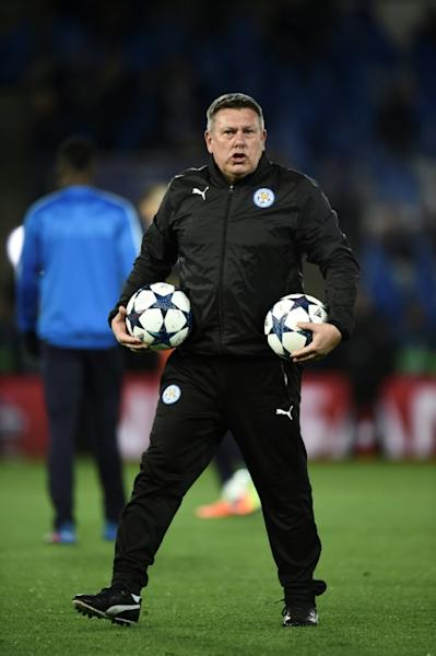 Leicester City's manager Craig Shakespeare attends the warm-up session ahead of their UEFA Champions Champions League round of 16 2nd leg match against Sevilla, at King Power Stadium in Leicester, on March 14, 2017