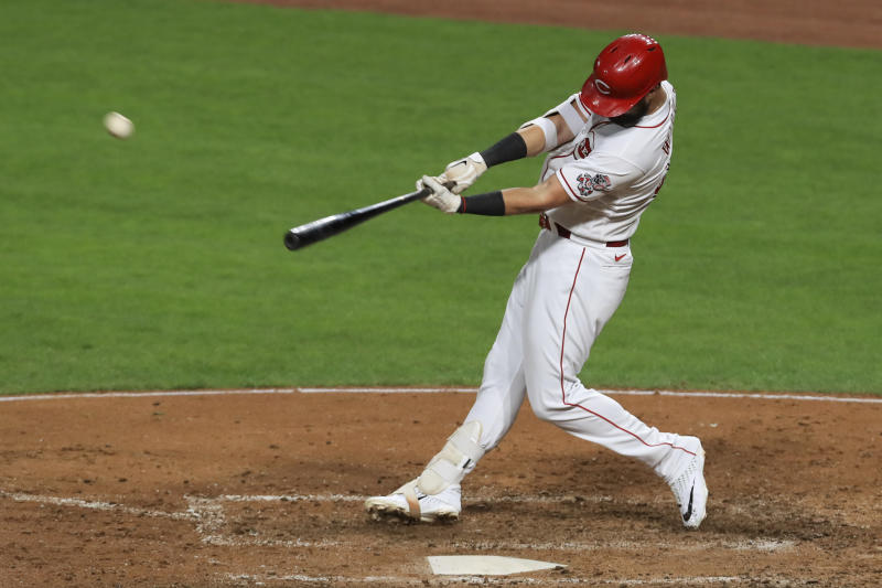 Jesse Winker hits a solo home run earlier in August.