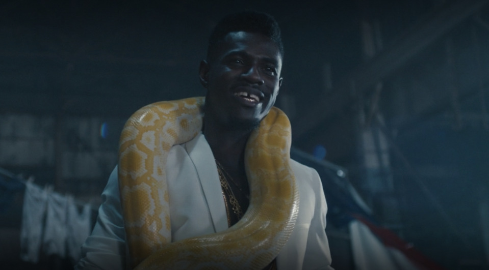 "<p>Lord Afrixana performs ""Don't Jealous Me"" in <em>Black Is King</em>, while carrying a large yellow python. </p>"