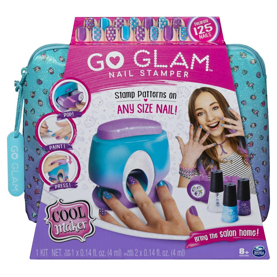 """<p>At-home manicures just got so much more fun. The <a href=""""https://www.popsugar.com/buy/Cool-Maker-Go-Glam-Nail-Stamper-486761?p_name=Cool%20Maker%20Go%20Glam%20Nail%20Stamper&retailer=target.com&pid=486761&price=25&evar1=moms%3Aus&evar9=46571794&evar98=https%3A%2F%2Fwww.popsugar.com%2Fphoto-gallery%2F46571794%2Fimage%2F46571806%2FCool-Maker-Go-Glam-Nail-Stamper&list1=shopping%2Ctarget%2Ctoys%2Cgift%20guide%2Cparenting%20gift%20guide%2Ckid%20shopping%2Cbest%20of%202019&prop13=api&pdata=1"""" rel=""""nofollow"""" data-shoppable-link=""""1"""" target=""""_blank"""" class=""""ga-track"""" data-ga-category=""""Related"""" data-ga-label=""""https://www.target.com/p/cool-maker-go-glam-nail-stamper-kit/-/A-76153789"""" data-ga-action=""""In-Line Links"""">Cool Maker Go Glam Nail Stamper</a> ($25) comes with specially formulated nail polishes that make it easy to use the fun nail stamps.</p>"""