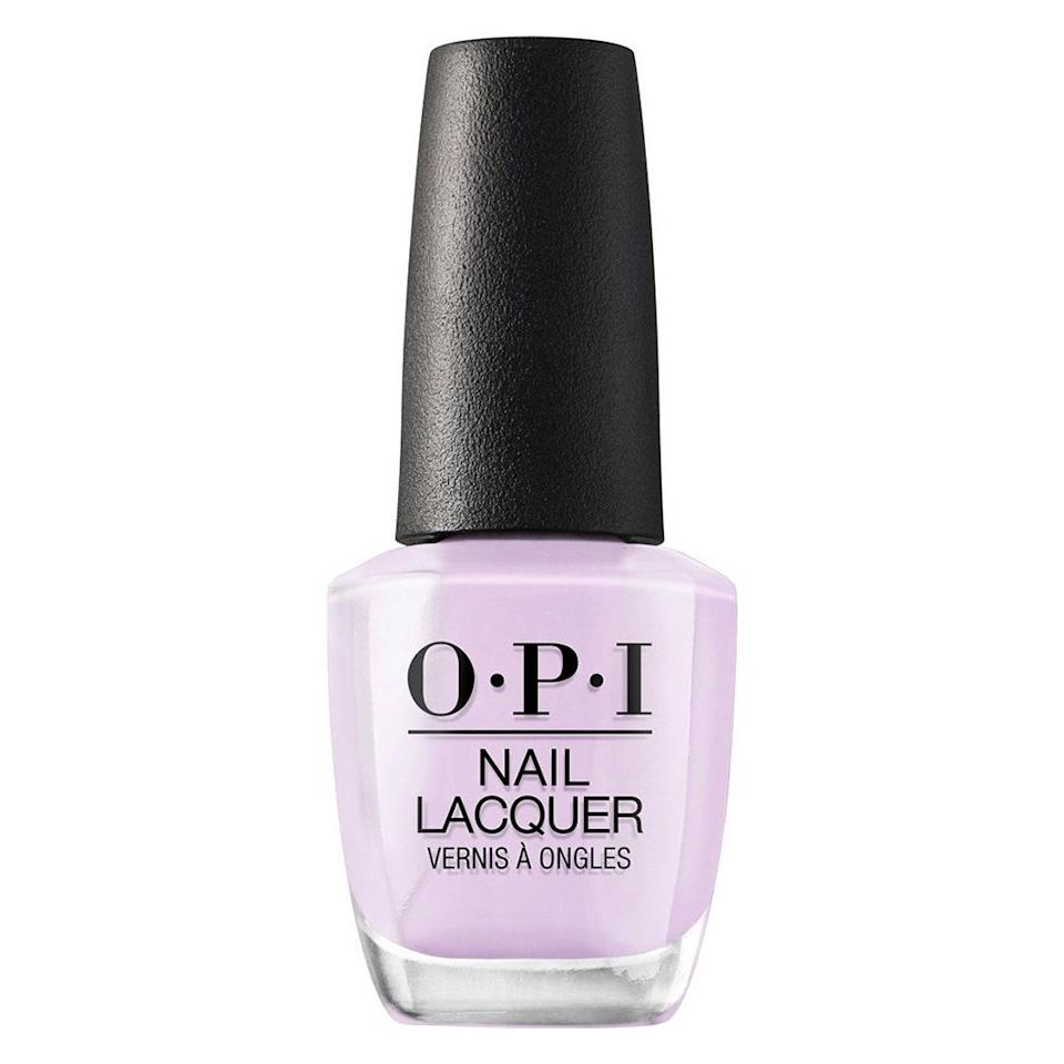 """OPI Polly Want a Lacquer is the perfect pastel lavender that provides a subtle jolt of color, says Nuñez. It may take two or three coats to achieve the hue seen in the bottle, but trust us, it's so worth it. <br> <br> <strong>$11</strong> (<a href=""""https://shop-links.co/1720227624323252490"""" rel=""""nofollow noopener"""" target=""""_blank"""" data-ylk=""""slk:Shop Now"""" class=""""link rapid-noclick-resp"""">Shop Now</a>)"""