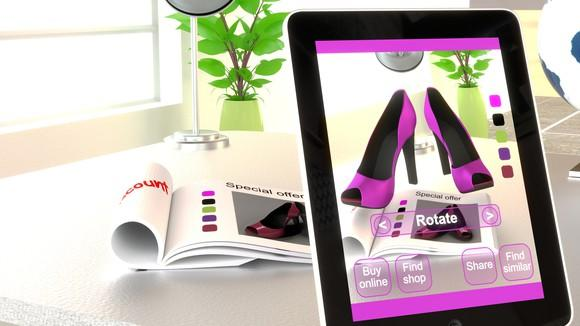 A pair of high-heeled shoes projected from a catalog in an augmented reality app.