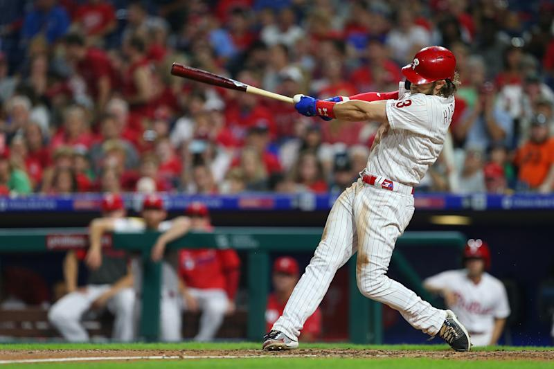 PHILADELPHIA, PA - SEPTEMBER 28: Bryce Harper #3 of the Philadelphia Phillies hits a three-run home run against the Miami Marlins during the sixth inning of a game at Citizens Bank Park on September 28, 2019 in Philadelphia, Pennsylvania. (Photo by Rich Schultz/Getty Images)