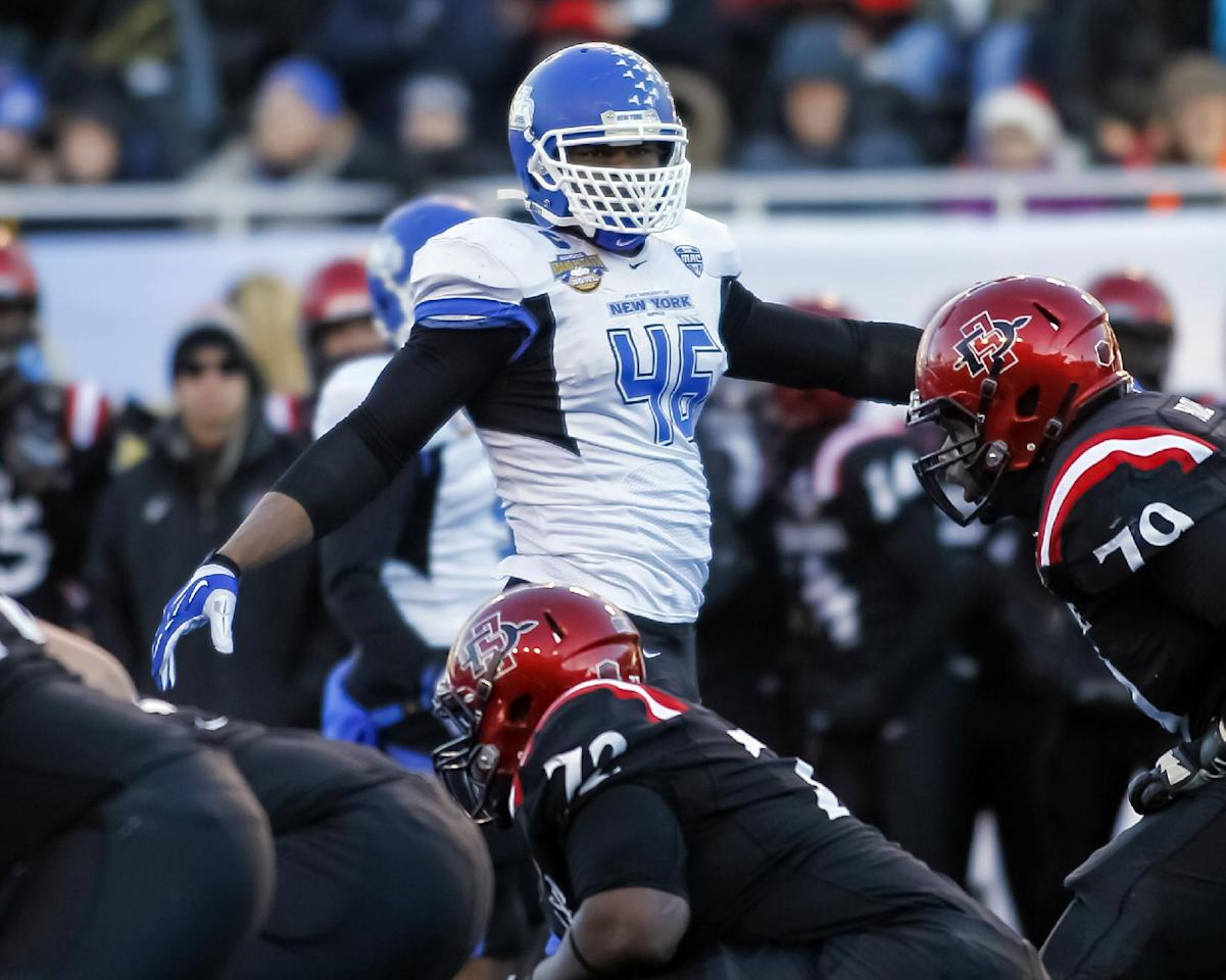 Buffalo linebacker Khalil Mack (46) prepares for a play during the first half of the Famous Idaho Potato Bowl NCAA college football game against San Diego State in Boise, Idaho, on Saturday, Dec. 21, 2013. San Diego State won 49-24. (AP Photo/Otto Kitsinger)