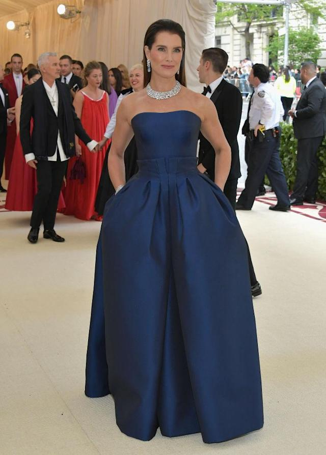 <p>Brooke Shields attends the Heavenly Bodies: Fashion & The Catholic Imagination Costume Institute Gala at The Metropolitan Museum of Art on May 7, 2018 in New York City. (Photo: Getty Images) </p>