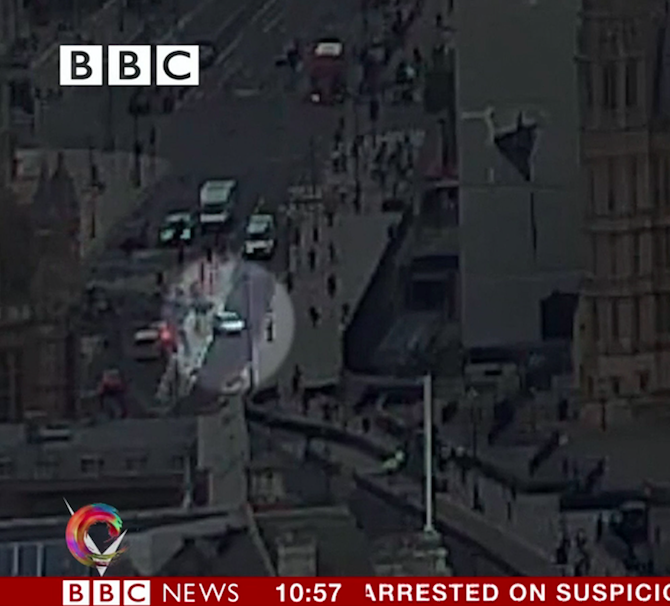 Westminster Terror Attack Footage Shows Crash Video - Car show barriers