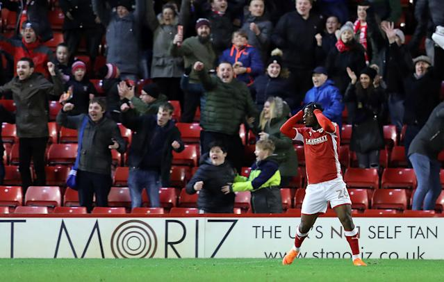 "Soccer Football - Championship - Barnsley vs Burton Albion - Oakwell, Barnsley, Britain - February 20, 2018 Barnsley's Mamadou Thiam reacts after having goal ruled out for offside Action Images/John Clifton EDITORIAL USE ONLY. No use with unauthorized audio, video, data, fixture lists, club/league logos or ""live"" services. Online in-match use limited to 75 images, no video emulation. No use in betting, games or single club/league/player publications. Please contact your account representative for further details."