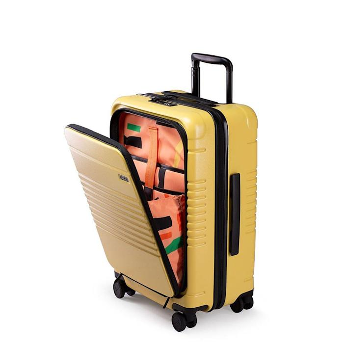 """The Dusen Dusen collaboration on this hardshell carry-on was my entry into the world of good luggage—and I still love it. It's perfect for a long trip and has a handy front pocket for your books and laptop. $350, Arlo Skye. <a href=""""https://arloskye.com/collections/all-products/products/arlo-skye-dusen-dusen-luggage"""" rel=""""nofollow noopener"""" target=""""_blank"""" data-ylk=""""slk:Get it now!"""" class=""""link rapid-noclick-resp"""">Get it now!</a>"""