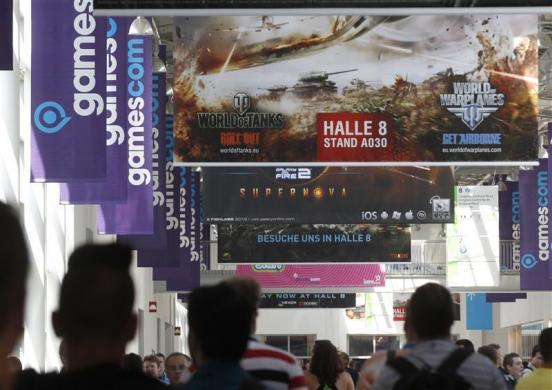 Placards are pictured during the Gamescom 2012 fair in Cologne August 15, 2012.