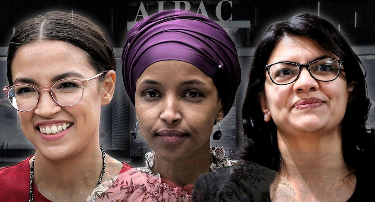 Reps. Alexandria Ocasio-Cortez, Ilhan Omar and Rashida Tlaib; AIPAC 2019. (Photo illustration: Yahoo News; photos: AP (3), Michael Brochstein/Zuma Wire)