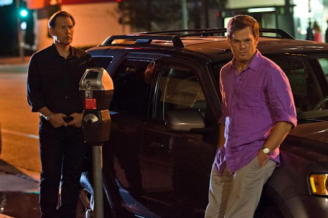 "James Remar as Harry Morgan and Michael C. Hall as Dexter Morgan in the ""Dexter"" Season 8 episode, ""Dress Code."""