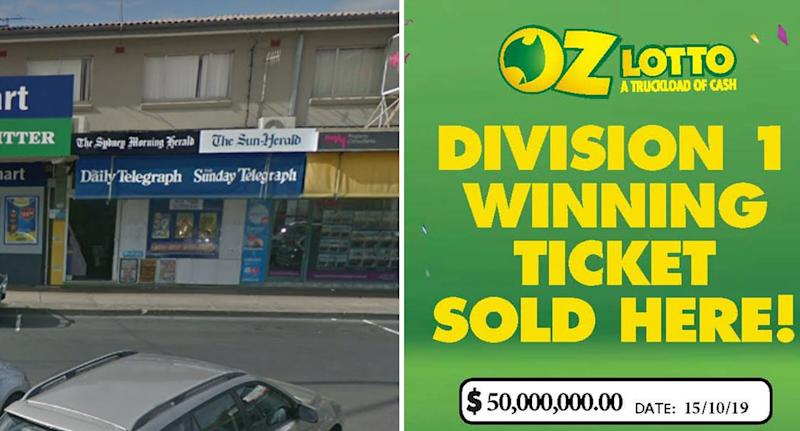 Leumeah Newsagency shown as its announced as retailer to sell $50 million lotto ticket.