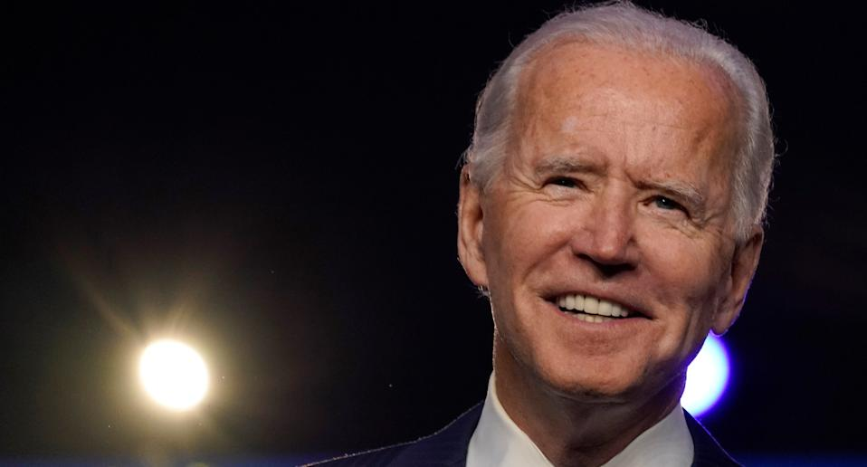 Joe Biden smiles as he is declared the 46th president.