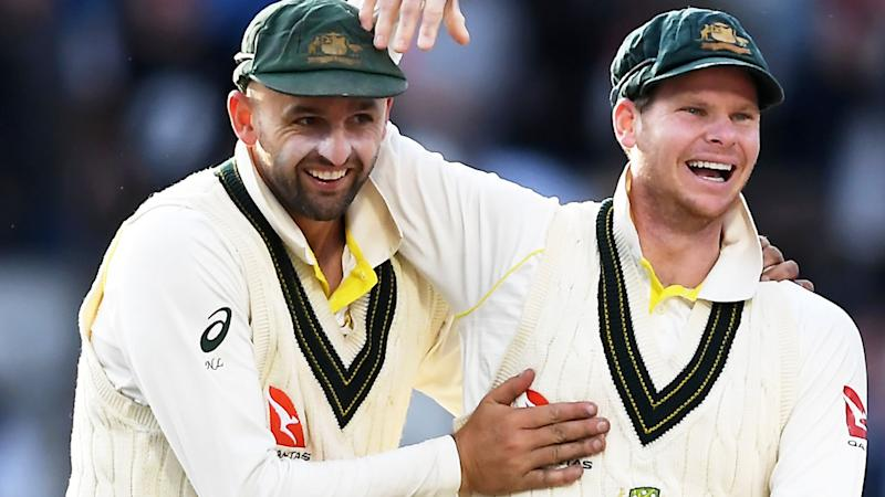 Nathan Lyon and Steve Smith, pictured here after Australia's Ashes victory.