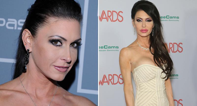 Jessica Jaymes (left) attends the 10th Annual XBIZ Awards at The Barker Hanger in California in 2012. She's also pictured at the 2018 Adult Video News Awards at the Hard Rock Hotel & Casino in 2018.