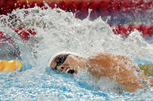 SHANGHAI, CHINA - JULY 28: Natalie Coughlin of the United States competes in heat nine of the Women's 100m Freestyle heats during Day Thirteen of the 14th FINA World Championships at the Oriental Sports Center on July 28, 2011 in Shanghai, China. (Photo by Adam Pretty/Getty Images)