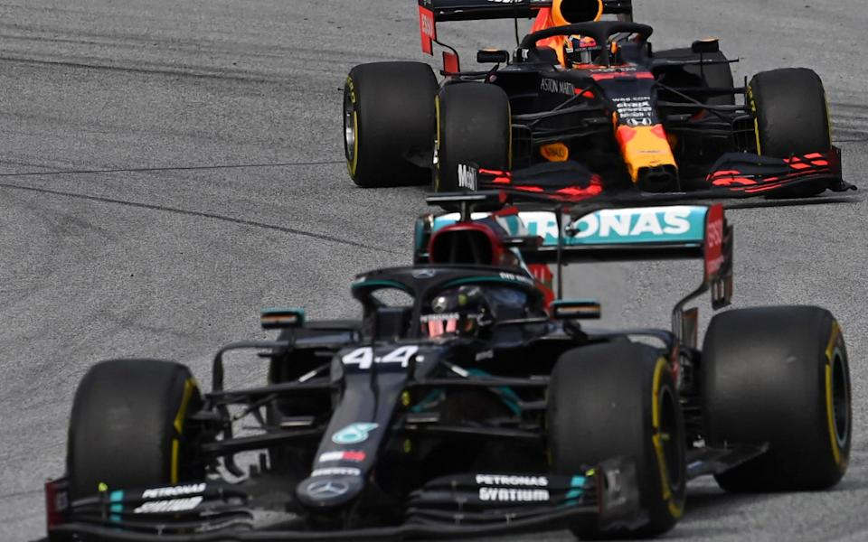 Mercedes driver Lewis Hamilton of Britain steers his car followed by Red Bull driver Alexander Albon of Thailand during the second practice session at the Red Bull Ring racetrack in Spielberg, Austria, Friday, July 3, 2020. The Austrian Formula One Grand Prix will be held on Sunday - Joe Klamar/Pool via AP