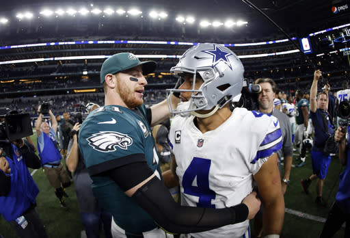 The Eagles will hope Carson Wentz's mobility proves to be an x-factor in taking down the NFC East-leading Cowboys. (AP Photo/Ron Jenkins, File)